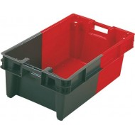 Bac gerbable/emboitable a drainage PEHD gris/rouge 60l